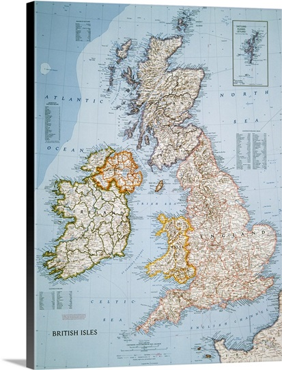 National Geographic political map of the British Isles Wall ... on europe shaded on a world map, national geographic world mural map, national geographic language world map, national geographic world map wallpaper, national geographic framed world map, national geographic large world map,