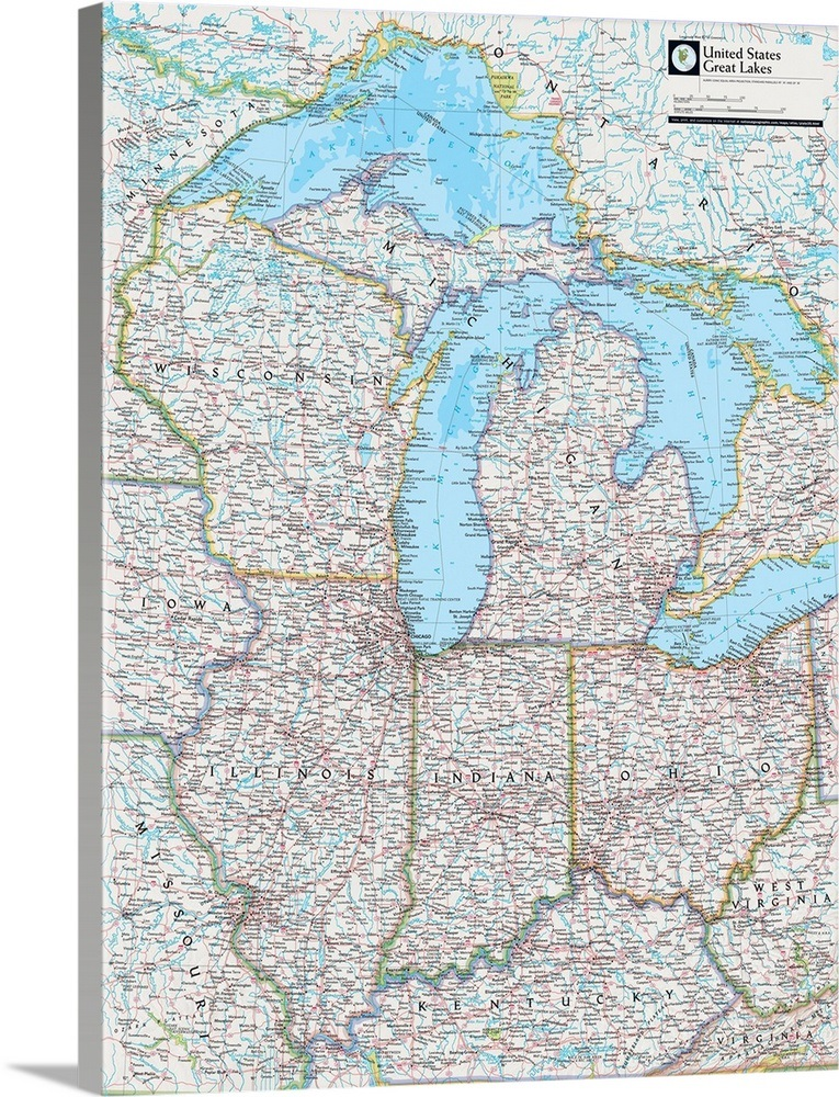 NGS Atlas of the World 8th Ed. political map of the Great Lakes ...