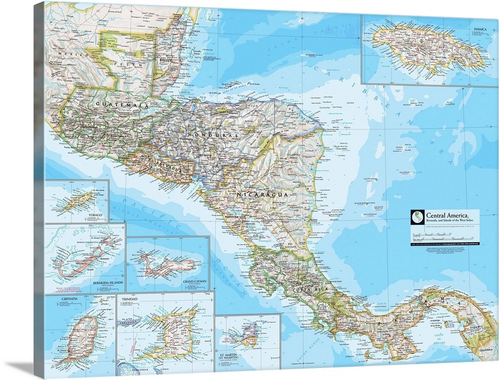 NGS Atlas of the World 8th Edition political map of Central America