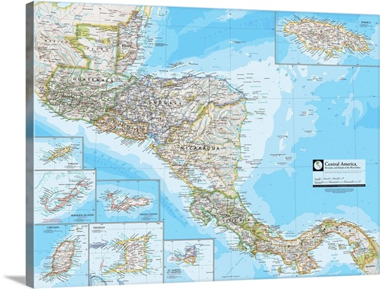 NGS Atlas of the World 8th Edition political map of Central America ...