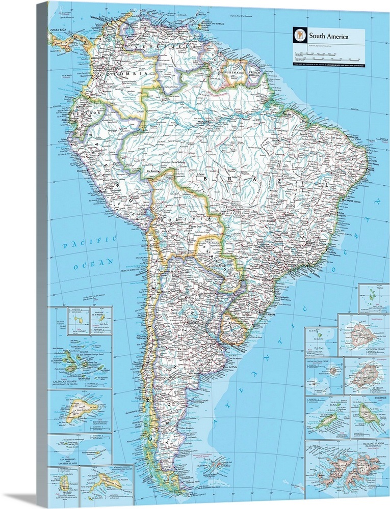 NGS Atlas of the World 8th Edition political map of South America ...
