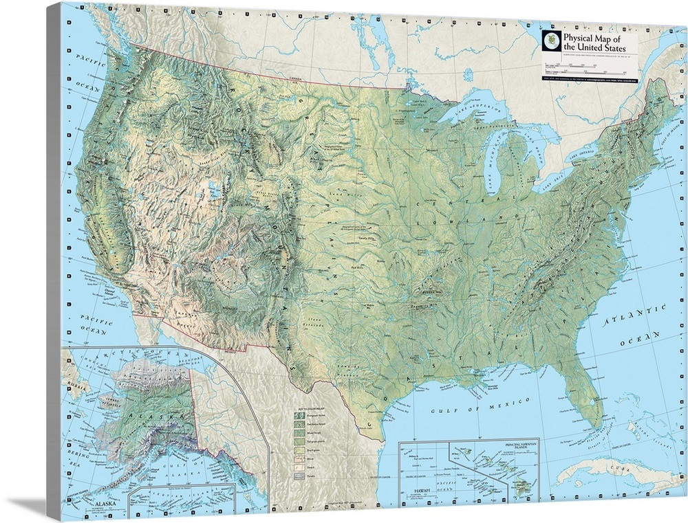 NGS Atlas of the World Eighth Ed. physical map of the United States ...