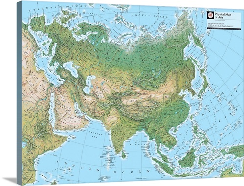 NGS Atlas Of The World Eighth Edition Physical Map Of Asia Wall - Physical map of asia