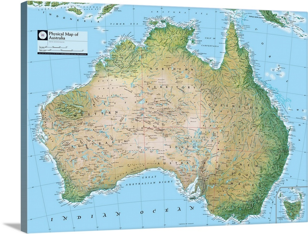Australia Atlas Map.Ngs Atlas Of The World Eighth Edition Physical Map Of Australia