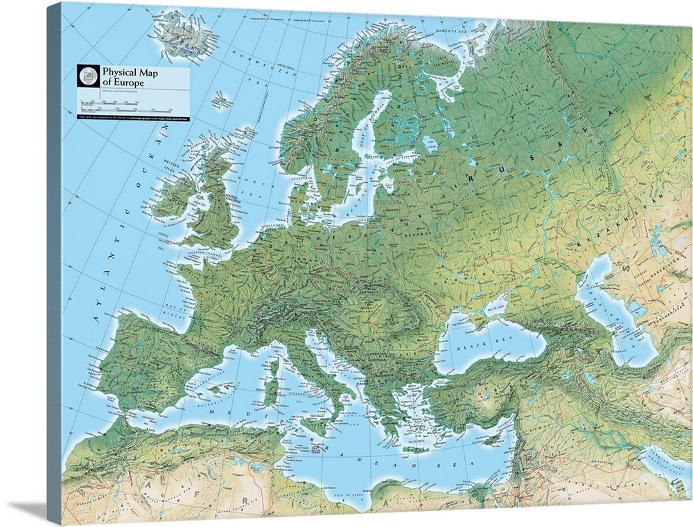 NGS Atlas of the World Eighth Edition physical map of Europe