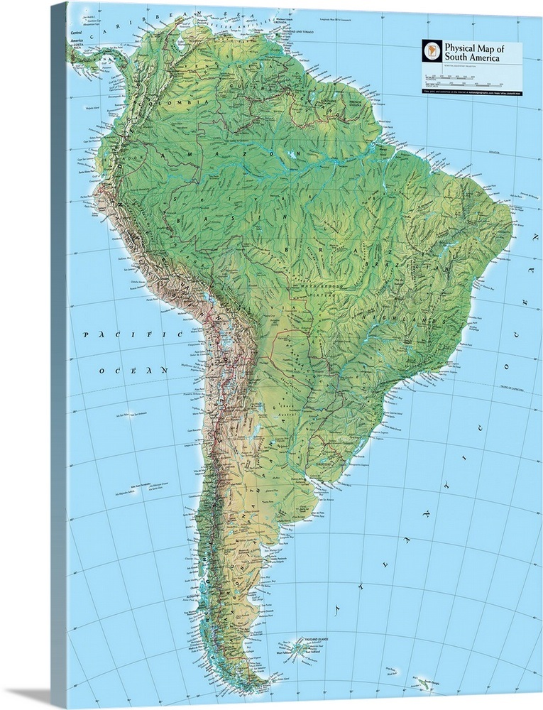 NGS Atlas of the World Eighth Edition physical map of South America ...