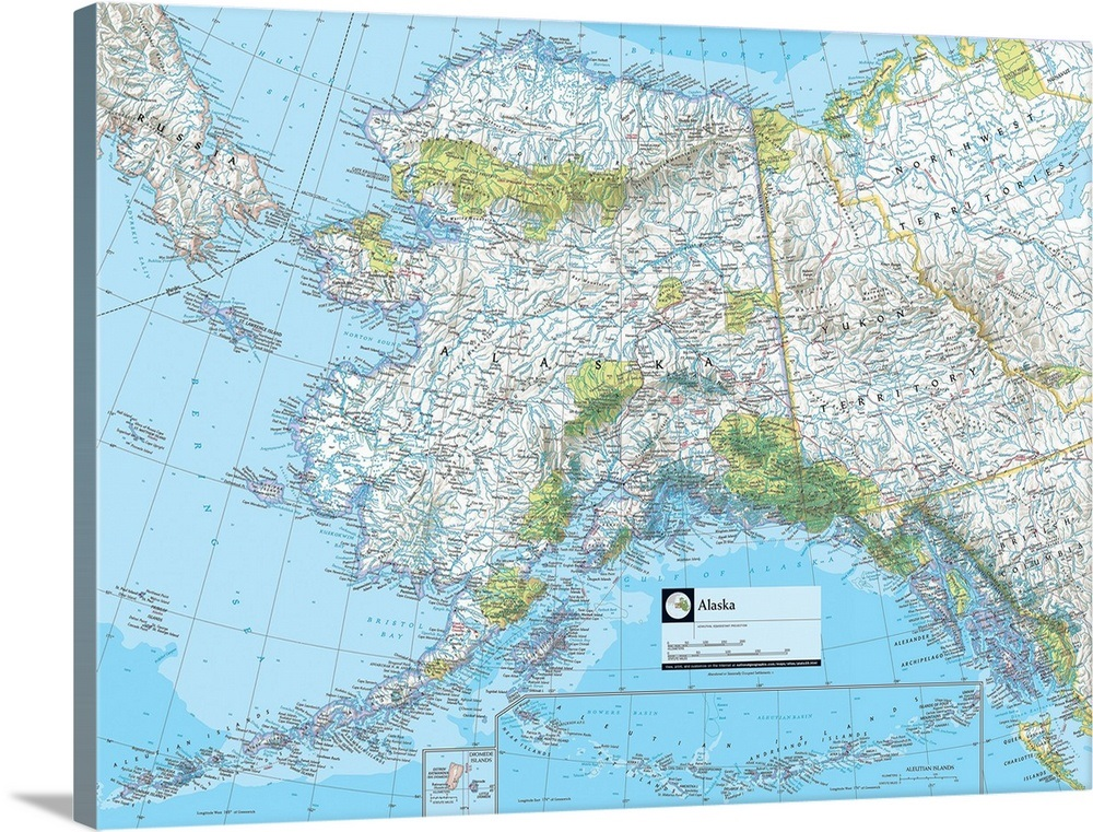 Political Map Of Alaska.Ngs Atlas Of The World Eighth Edition Political Map Of Alaska Wall