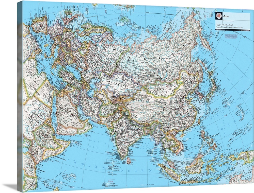 Big Map Of Asia.Ngs Atlas Of The World Eighth Edition Political Map Of Asia