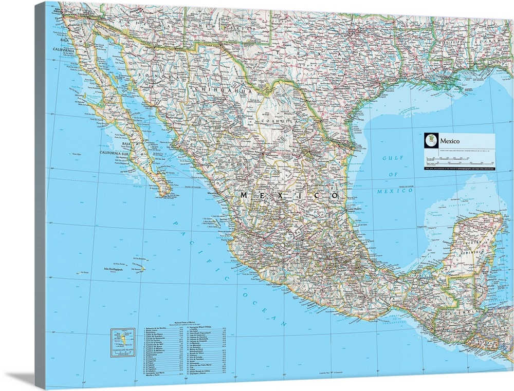 NGS Atlas of the World Eighth Edition political map of Mexico Wall