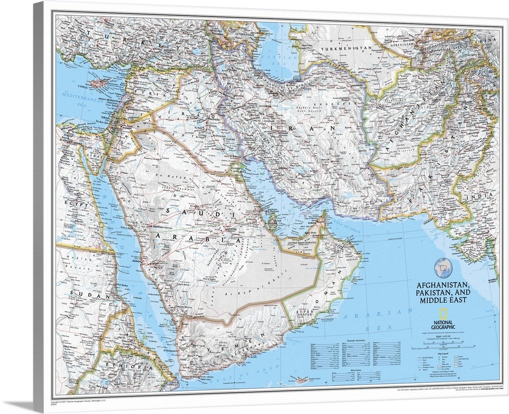Ngs Political Map Of Afghanistan Pakistan And The Middle East Wall