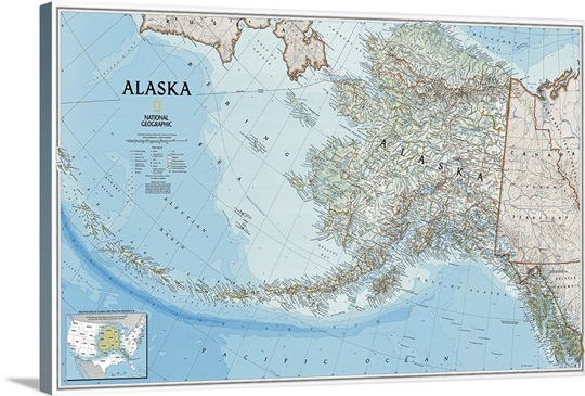 Political Map Of Alaska.Ngs Political Map Of Alaska Wall Art Canvas Prints Framed Prints