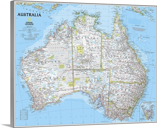 Australia Map Political.Ngs Political Map Of Australia Wall Art Canvas Prints Framed