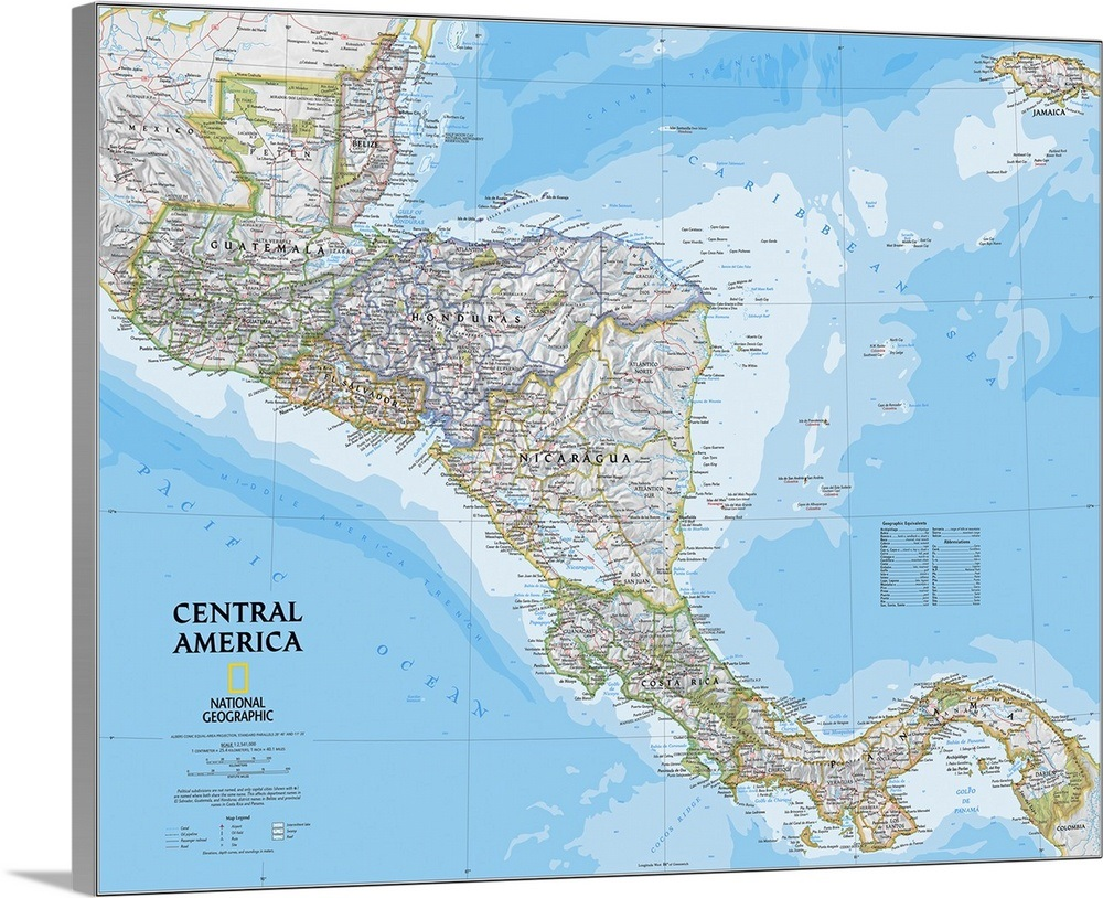 NGS political map of Central America