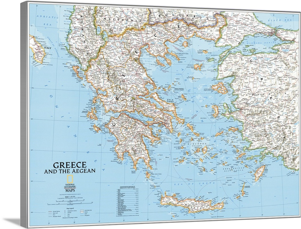 NGS political map of Greece and the Aegean Sea Wall Art Canvas