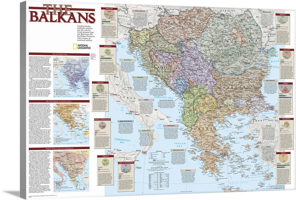 NGS political map of the Balkan peninsula Wall Art, Canvas Prints ...
