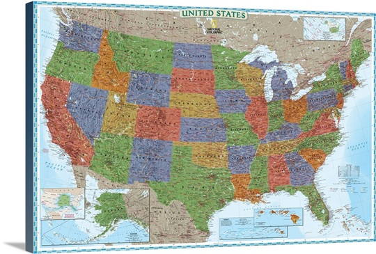 NGS political map of The United States of America Wall Art, Canvas ...