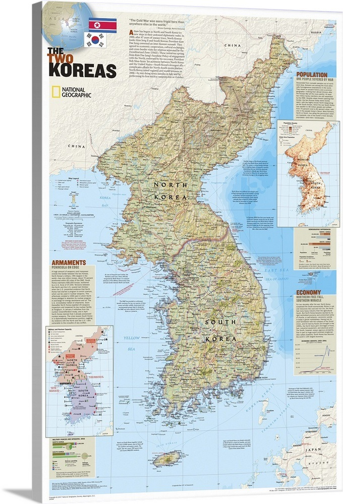 Ngs Supplement Political Map Of North And South Korea Wall Art