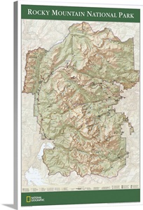 Ngs Topographical Map Of Rocky Mountain National Park Wall Art Canvas Prints Framed