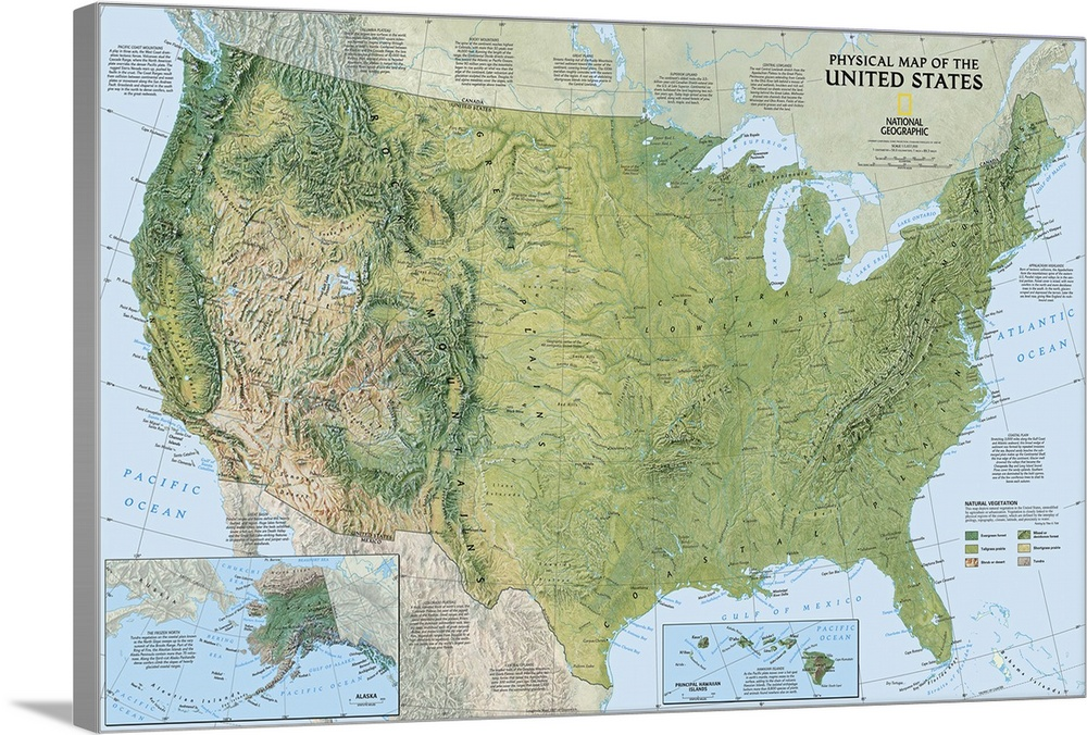 Ngs Topographical Map Of The United States America Wall Art