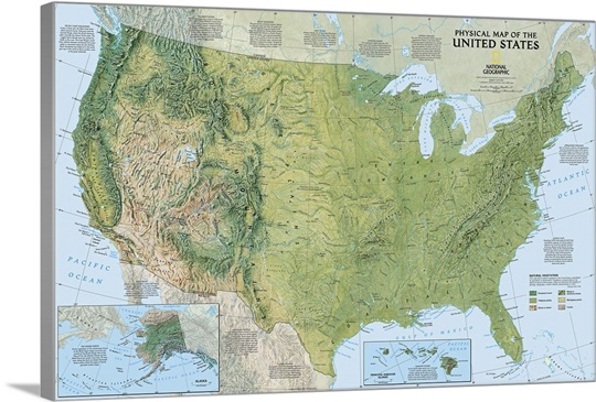 NGS Topographical Map Of The United States Of America Wall Art - Topagraphical map of us