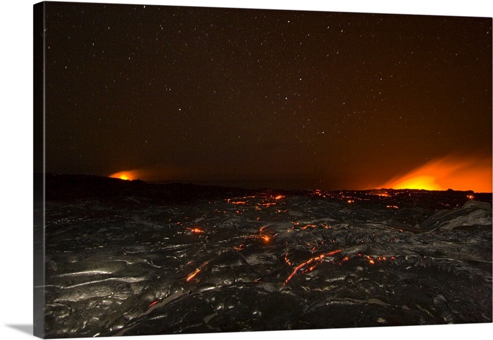 Night Sky And Orange Glow From Kilauea Lava Flowing Into The Pacific Wall Art