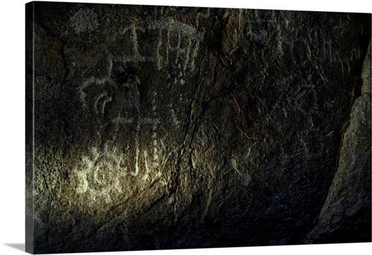 Petroglyphs on a rock wall in Arrow Canyon Wall Art, Canvas Prints ...