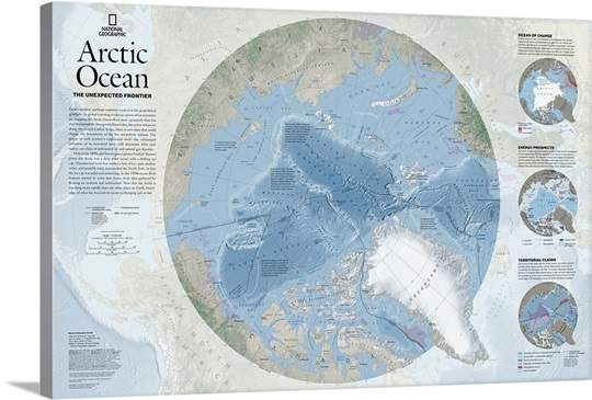 Physical map of Arctic Ocean and Arctic Circle with topographic