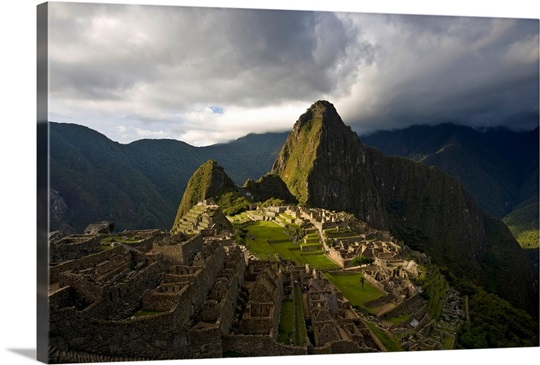 Reconstructed stone buildings on Machu Picchu