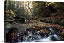Small waterfall on hunting creek in fall, Catoctin Mountain Park, Maryland