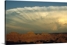 Storm moves across the Badlands at Cedar Pass, later spawned tornadoes