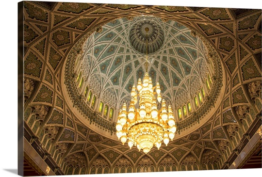 The chandelier above the praying hall inside the sultan qaboos grand the chandelier above the praying hall inside the sultan qaboos grand mosque aloadofball Images
