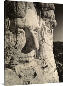 The face of Abraham Lincoln at Mount Rushmore