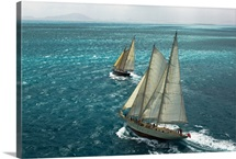 The sailing vessels Ocean Star and Argo sailing in a stiff breeze