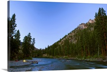Twilight settles into camp, Middle Fork of the Salmon River, ID
