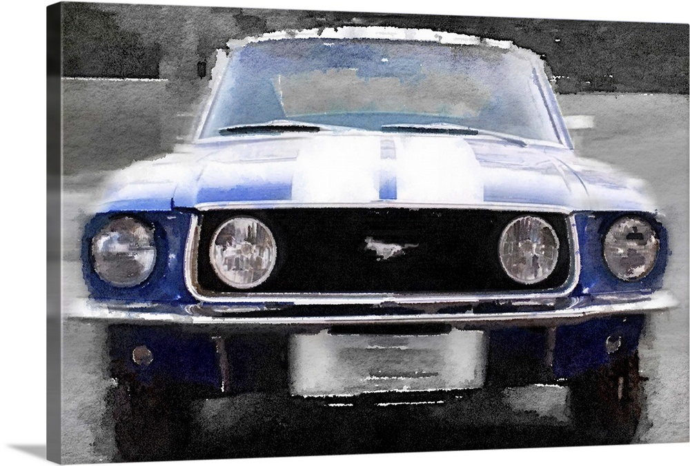 Your Item Was Added To Cart 1968 Ford Mustang Front End Watercolor