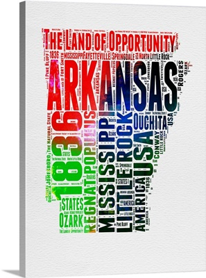 Arkansas Watercolor Word Cloud