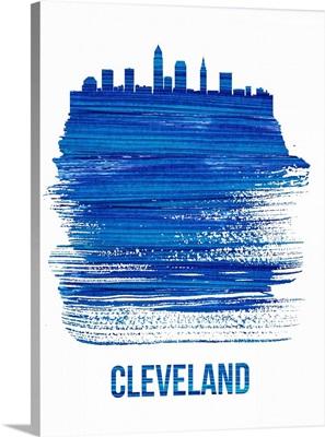 Cleveland Skyline Brush Stroke Blue