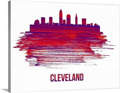 Cleveland Skyline Brush Stroke Red