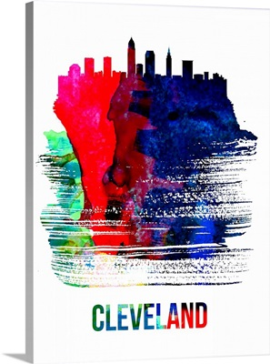 Cleveland Skyline Brush Stroke Watercolor