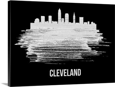 Cleveland Skyline Brush Stroke White