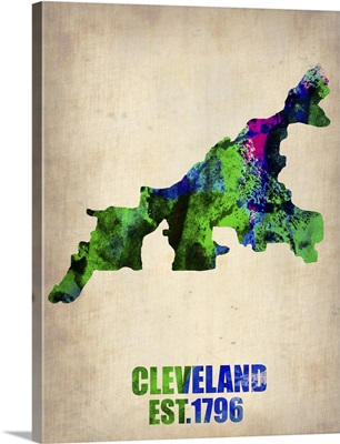 Cleveland Watercolor Map