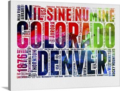 Colorado Watercolor Word Cloud