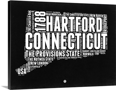 Connecticut Black and White Map