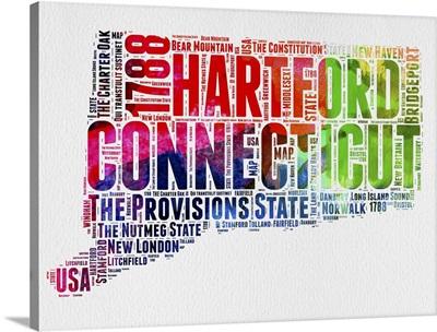 Connecticut Watercolor Word Cloud