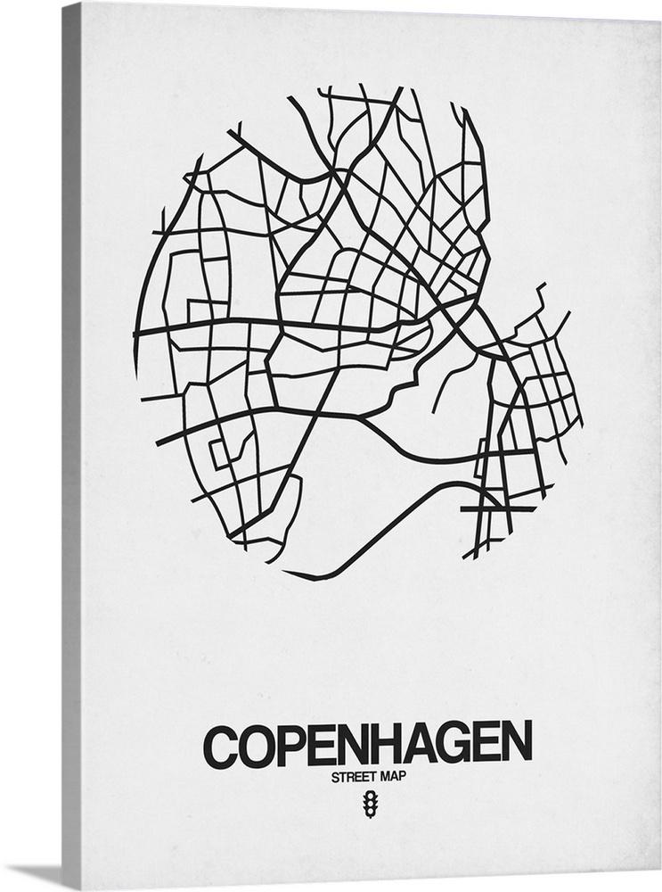 Copenhagen Street Map White Wall Art Canvas Prints Framed Prints