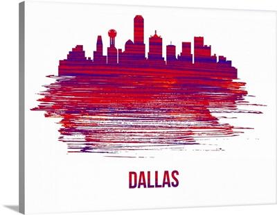 Dallas Skyline Brush Stroke Red