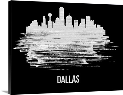 Dallas Skyline Brush Stroke White