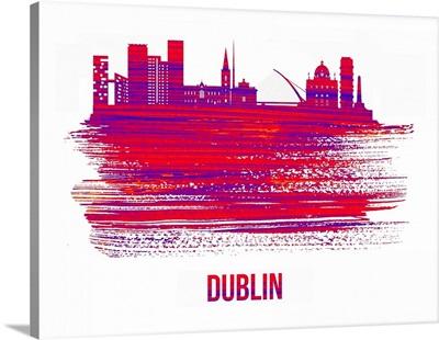 Dublin Skyline Brush Stroke Red