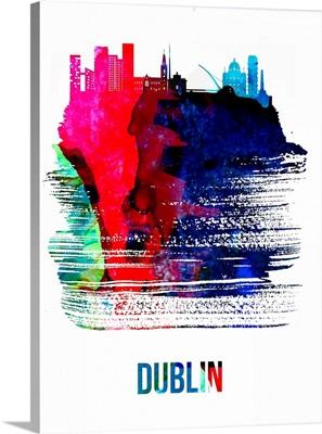 Dublin Skyline Brush Stroke Watercolor