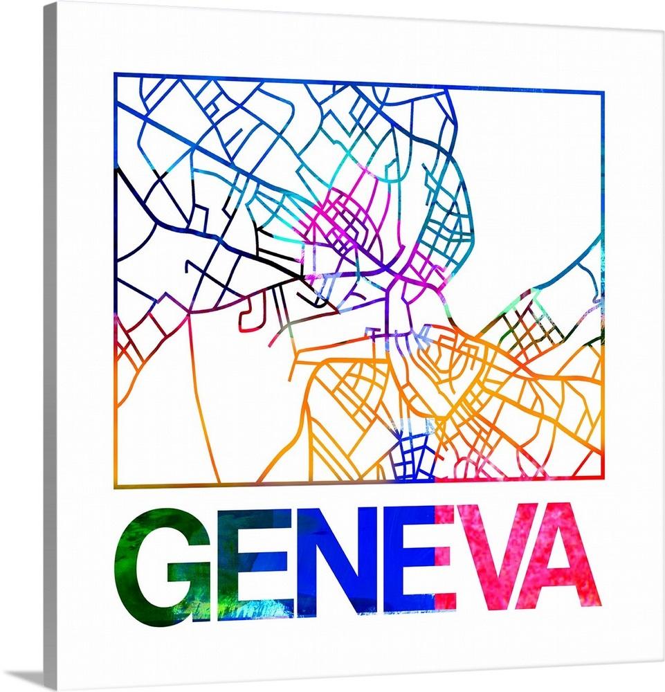 Geneva Watercolor Street Map on vienna map, lake geneva, genoa map, zurich map, wittenberg on map, munich map, helsinki map, trent map, lapland map, rhone river map, cadiz map, sardinia map, swiss map, the hague map, africa map, singapore map, corsica map, europe map, john calvin, switzerland map, sweden map, zürich, ashtabula map,